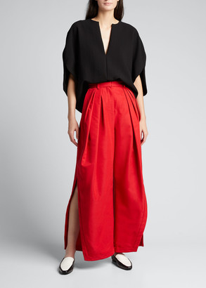 Rosie Assoulin Pleated Asymmetric Wide-Leg Pants