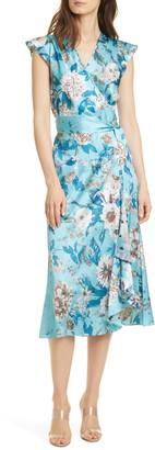 Diane von Furstenberg Gwendolyn Silk Floral Midi Wrap Dress