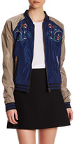 Romeo & Juliet Couture Woven Long Sleeve Embroidered Bomber Jacket