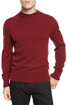 Tom Ford Classic Flat-Knit Cashmere Crewneck Sweater, Cherry