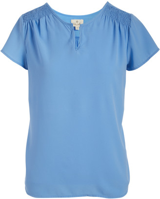 Très Jolie Women's Blouses Chambray - Chambray Smocked-Shoulder Short Sleeve Top - Women