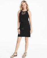 White House Black Market Sleeveless Crochet Bib Black Knit Dress