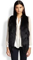 Haute Hippie Hi-Lo Leather & Fur Vest