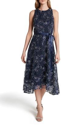 Tahari Floral Embroidered Sleeveless Tie Waist Cocktail Dress