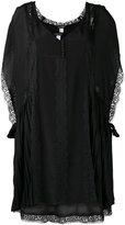 Twin-Set pleated detail lace dress - women - Polyester/Polyamide - S