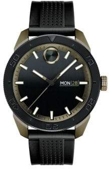 Movado BOLD Sport Khaki Ion-Plated Case, Black Strap Watch