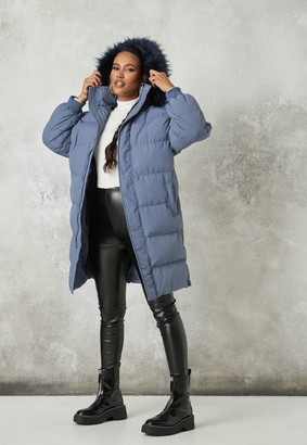 Missguided Blue Faux Fur Trim Hooded Longline Puffer Jacket
