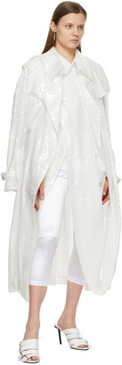 Junya Watanabe White Sequin Organdy Double-Breasted Trench Coat