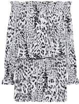 Norma Kamali Off-The-Shoulder Shirred Leopard-Print Jersey Mini Dress