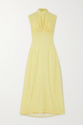 Emilia Wickstead Everly Gathered Cloque Turtleneck Maxi Dress - Pastel yellow