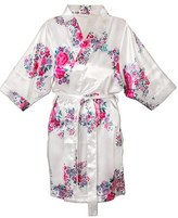 Cathy's Concepts Women's Monogram Floral Satin Robe