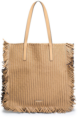 Michael Kors Fringe-trimmed Braided Leather Tote