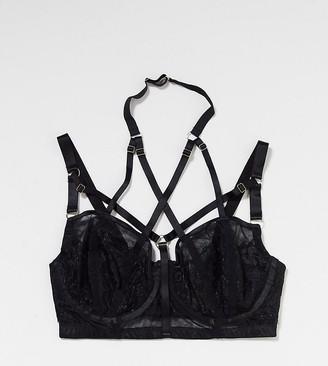 Playful Promises X Gabi Fresh mesh strapping detail bra in black