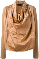 Andrea Ya'aqov - draped front sweatshirt - women - Cotton/Polyamide/Metallic Fibre - M