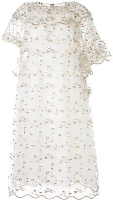 Simone Rocha Asymmetrical Floral Ruffled Dress