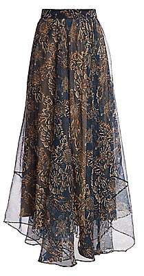 Brunello Cucinelli Women's Floral Silk Maxi Skirt