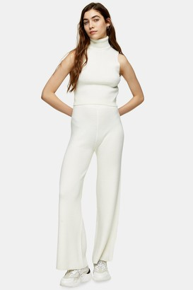 Topshop Ivory Knitted Trousers