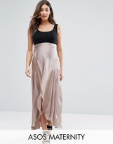 Asos Over The Bump Maxi Wrap Skirt in Satin
