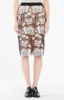 BCBGMAXAZRIA Olly Embroidered Lace Midi Skirt