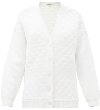Fendi Contrast-sleeve Quilted Cardigan - White