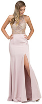 Dancing Queen - 9974 Beaded Illusion Halter Dress With Slit
