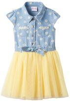 Nannette Girls 4-6x Daisy Chambray Top Tulle Skirt Dress