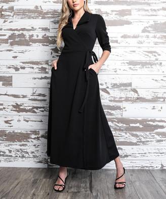 Milly Penzance Women's Maxi Dresses black - Black Tie-Accent Pocket V-Neck Maxi Dress - Women & Plus