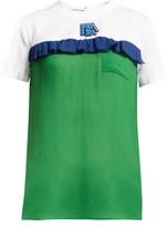Prada Ruffle-trimmed Cotton And Silk-chiffon T-shirt - Womens - Green Multi
