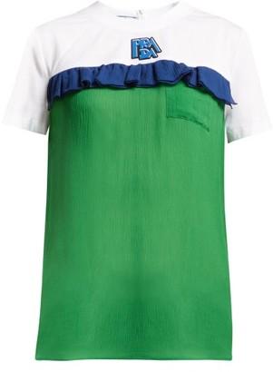 Prada Ruffle-trimmed Cotton And Silk-chiffon T-shirt - Green Multi