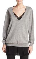 Fuzzi 3-in-1 Ballet Sweater w/ Lace Cami & Chiffon Skirt, Chrome