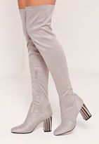 Missguided Bone Heel Over The Knee Boots Grey