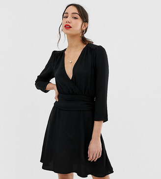 Asos Tall DESIGN Tall wrap mini dress with ruched skirt-Black