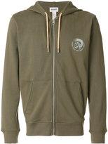 Diesel logo print zipped hoodie