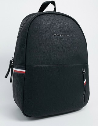 Tommy Hilfiger ASOS exclusive faux leather backpack in black with side logo details