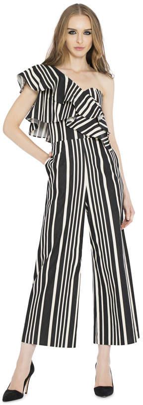Alice + Olivia Sabeen Ruffle Top Crop Jumpsuit