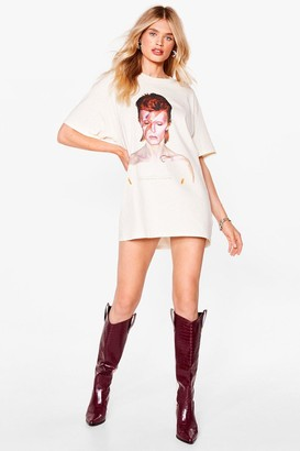 Nasty Gal Womens My Love for You David Bowie Graphic Tee Dress - Beige - S