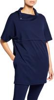Joan Vass Cowl-Neck Elbow-Sleeve Easy Tunic with Pockets