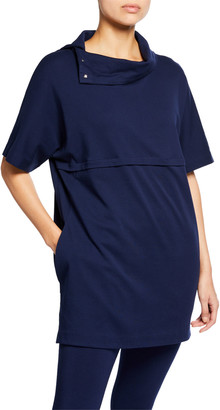 Joan Vass Cowl-Neck Elbow-Sleeve Easy Tunic with Pockets