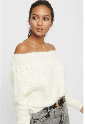 Dynamite Fuzzy Off-The-Shoulder-Sweater Snow White