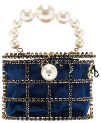 Rosantica Holli Crystal-embellished Cage Clutch - Womens - Navy