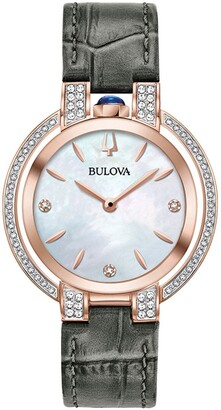Bulova Women's Rubaiyat Diamond Rose Gold Croc Embossed Leather Strap Watch, 35mm - 0.34 ctw