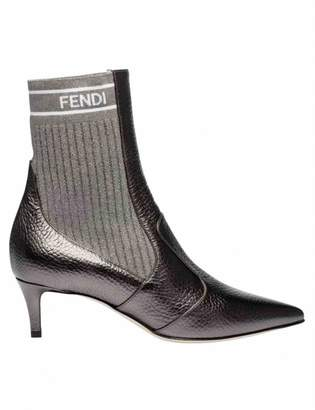 Fendi Grey Leather Ankle boots