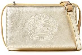 Burberry Logo-embossed Metallic Textured-leather Shoulder Bag