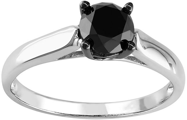 Black Diamond Round-Cut Solitaire Engagement Ring in Sterling Silver (1 ct. T.W.)