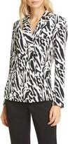 Diane von Furstenberg Courtney Animal Print Long Sleeve Silk Blouse