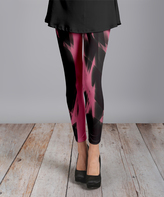 Lily Black & Pink Light Knit Slim-Leg Pants - Plus Too