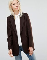 Helene Berman Longline Blazer in Chocolate Brown