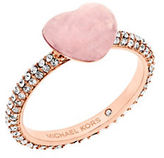 Michael Kors Carved Heart Quartz and Cubic Zirconia Rose Goldtone Ring