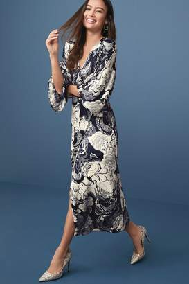 Next Womens Navy Print Occasion Kimono Dress - Blue