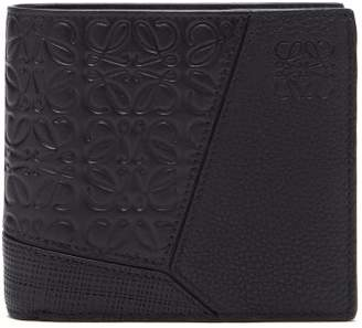 Loewe Puzzle Grained Leather Bi Fold Wallet - Mens - Black